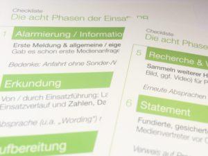 Taschenkarte und Checkliste für die Einsatz-PR: Die Medienarbeit im Einsatz verläuft typischweise in acht Phasen. (c) by B.Wuttig under CC BY-NC-ND 4.0